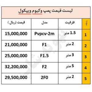 لیست-قیمت-پمپ-وکیوم-ویپکول
